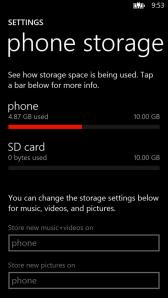 Настройки Phone Storage позволяют выбрать место хранения данных: внутренняя память или SD-карта