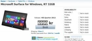Windows RT с 32 Гб внутренней памяти - 6.990 шведских крон