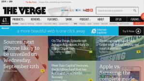 Так выглядит популярный портал Verge на Xbox