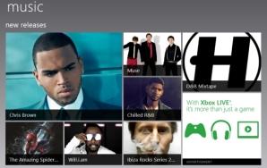 Реклама в хабе Музыка в Windows 8