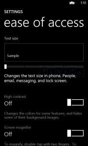 Специальные возможности в Windows Phone 8