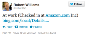Твит Роберта Уильямса