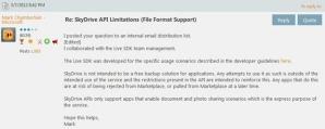 Политика SkyDrive запрещает использование сервиса для хранения данных приложений