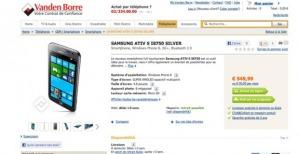Предзаказ Samsung ATIV S - 549,99 евро