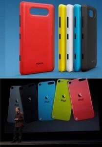 Сверху: Корпус Nokia Lumia 820. Снизу: новые Apple iPod Touch
