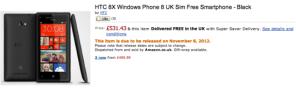 HTC 8X в Amazon UK
