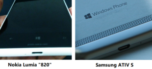 Расположение USB-портов у Nokia Lumia 820 и Samsung ATIV S