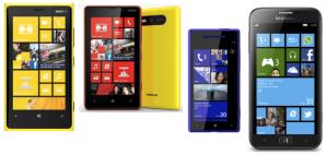 Смартфоны на Windows Phone 8 (слева направо): Nokia Lumia 920, Lumia 820, HTC 8X и Samsung ATIV S