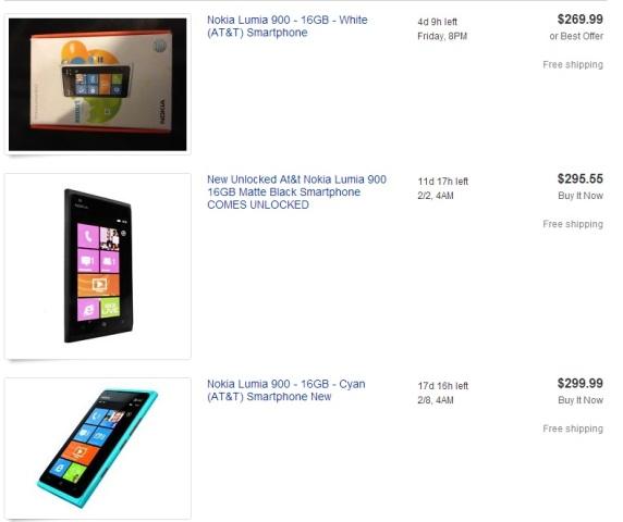 Nokia Lumia 900 на Ebay.com (результаты поиска от 21 января 2013 года, около 11 часов дня)