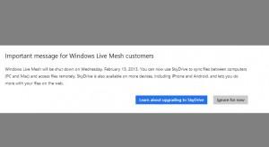 Уведомление о закрытии Windows Live Mesh
