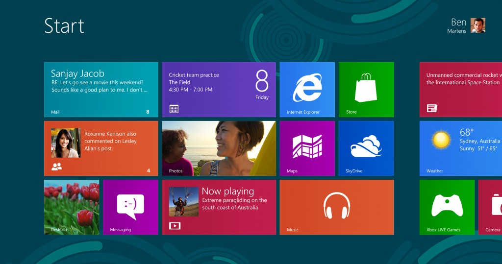 Windows 8 - стартовый экран