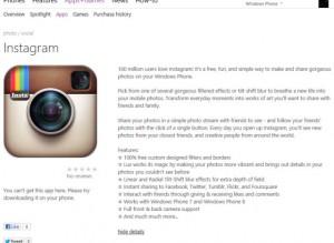 Instagram в магазине Windows Phone