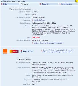 Nokia Lumia 520 в онлайн-магазине Digitec