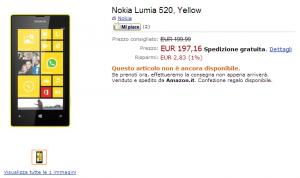Nokia Lumia 520 в Amazon Italy