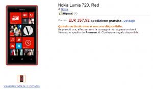 Nokia Lumia 720 в Amazon Italy
