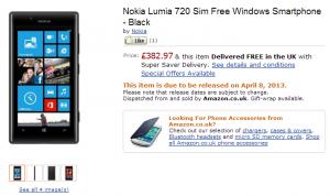 Nokia Lumia 520 в Amazon UK