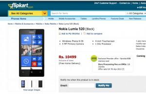 Nokia Lumia 520 в магазине Flipkart