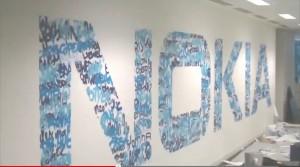 Имена подписчиков Twitter-аккаунта Nokia на стене лондонского офиса компании