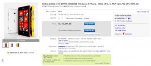 Nokia Lumia 720 на Ebay.in