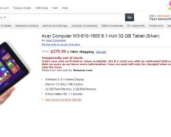 Восьмидюймовый Windows-планшет Acer W3 появился на Amazon