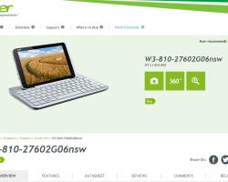 Характеристики 8-дюймового Windows-планшета Acer подтверждены официально