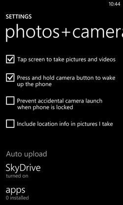 Настройки автозагрузки фото и видео в SkyDrive