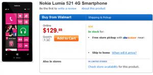 Nokia Lumia 521 в Walmart