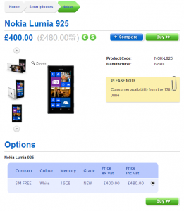 Nokia Lumia 925 в Clove UK