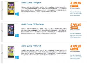 Nokia Lumia 1020 в Notebooksbilliger