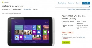 Acer снижает цены на Iconia W3