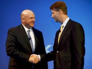 Генеральный директор Microsoft Стив Балмер и председатель совета директоров Nokia Ристо Сииласмаа