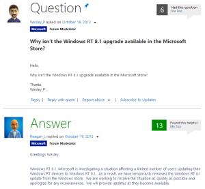 Вопрос пользователя Windows RT и ответ Microsoft