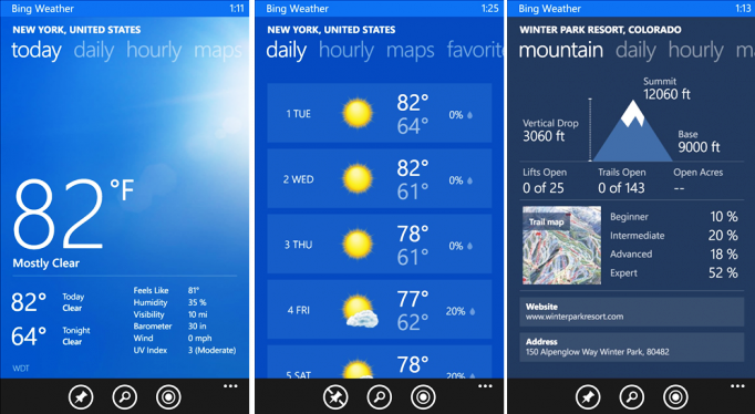 Bing Weather Screenshot