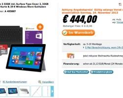 Акция: Surface 2, Type Cover 2, карта памяти 32 ГБ и подарочная карта за 444 евро