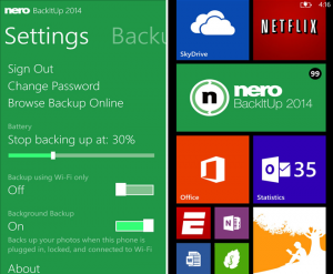 Nero BackItUp для Windows Phone 8