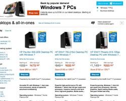 HP возвращает на свои ПК Windows 7