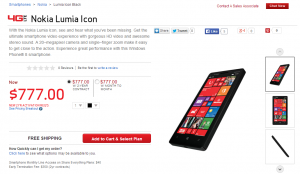 Nokia Lumia Icon на сайте Verizon