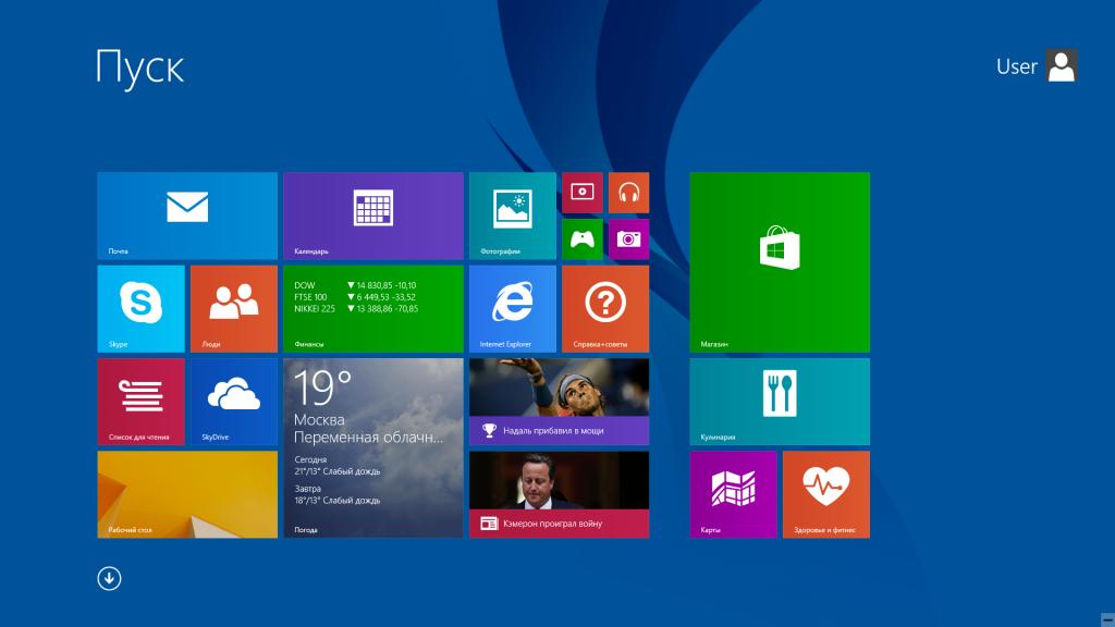 Windows 8.1 Стартовая страница