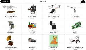 Рисунок 1. Примеры моделей, доступных для сборки в игре Machinator.
