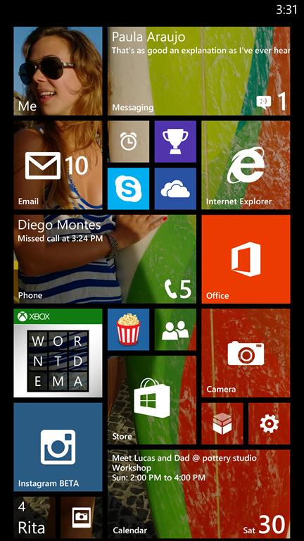 Начальный экран Windows Phone 8.1: Живые плитки в 3 ряда