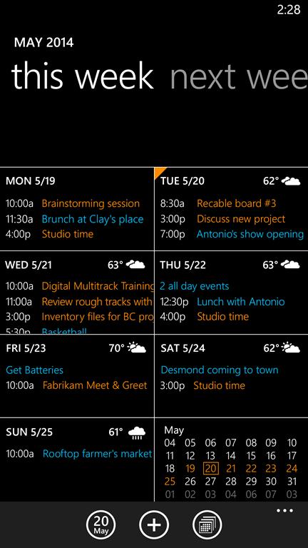 Календарь на WP8.1