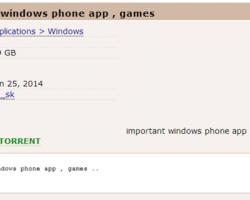НаPirate Bay выложено 1,9 гигабайта пиратских приложений для Windows Phone
