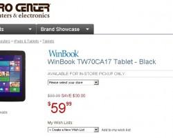 Новый ценовой минимум для W-планшетов – 7-дюймовый WinBook продается за $60