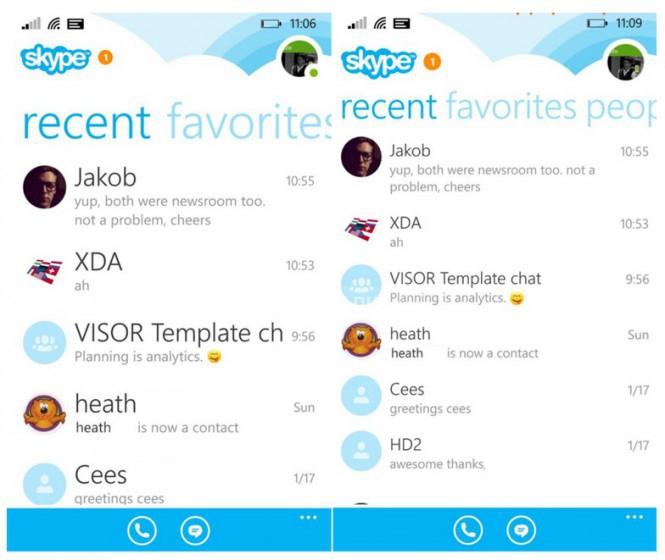 Новый Skype для WP