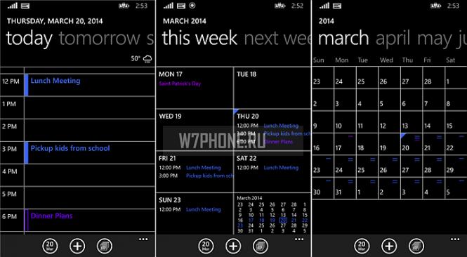 В Windows Phone 8.1 обновился встроенный календарь