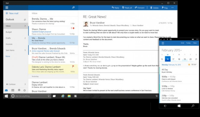 Outlook Mail и Outlook Calendar для Windows 10