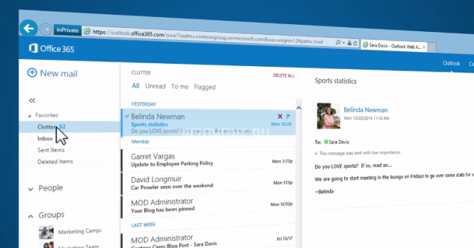 Функция Clutter для Outlook получила обновление