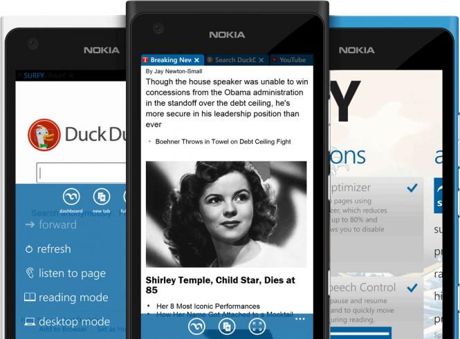 Браузер Surfy для Windows Phone получил крупное обновление