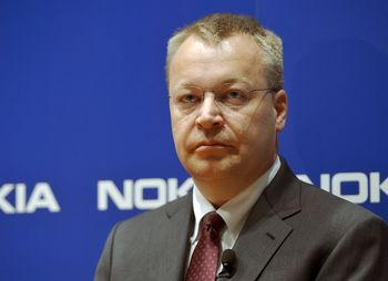 Nokia CEO Stephen Elop reacts during the