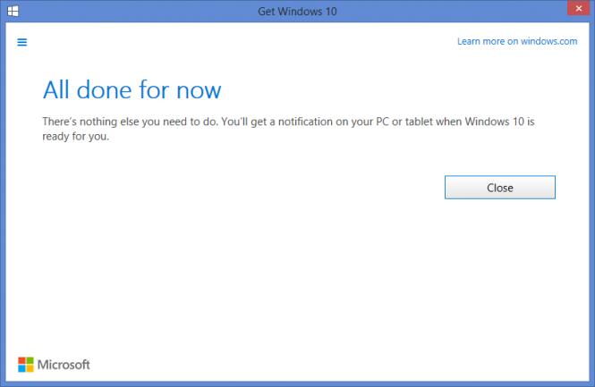 Пользователи Windows 7 и Windows 8.1 могут «зарезервировать» Windows 10